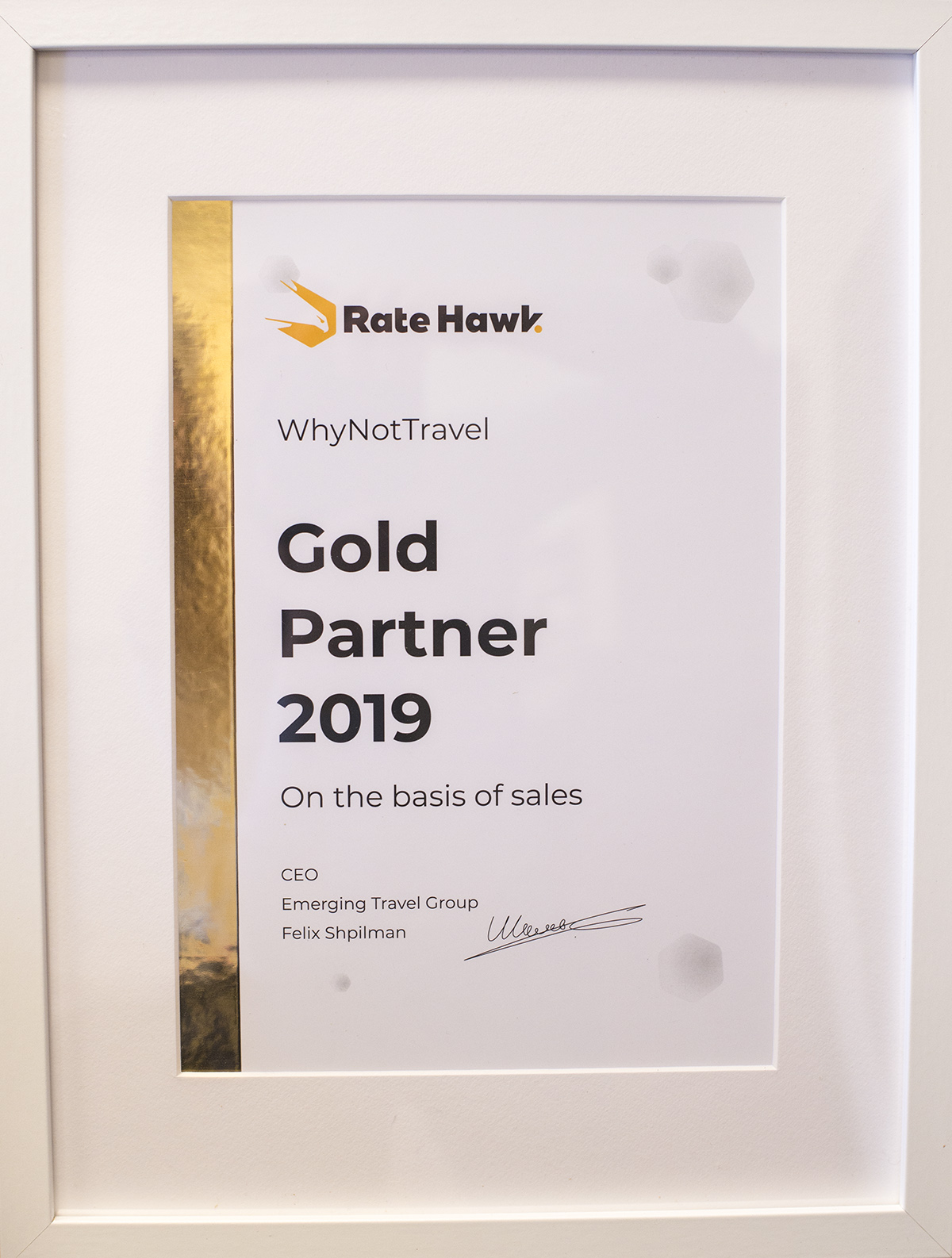 GOLD PARTNER 2019 OD RATEHAWK